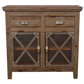 Decor Therapy 'Chicken Wire' Brown Metal and Wood Cabinet