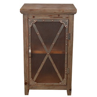 Decor Therapy Brown MDF and Metal Chicken Wire Cabinet