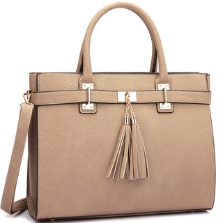 Dasein Faux Leather Double Tassel Satchel with Shoulder Strap