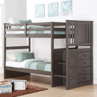 Donco Kids Princeton Twin over Twin or Twin over Full Stairway Storage Bunk Bed in Slate Grey
