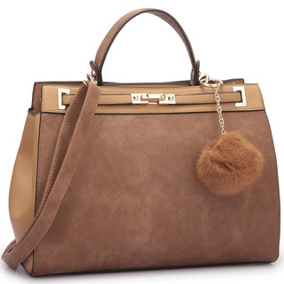 Dasein Satchel Handbag with Decorative PomPom