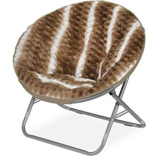 Urban Shop Metal/Textured Polyester-blend Fur Ombre Wave Saucer Papasan Chair