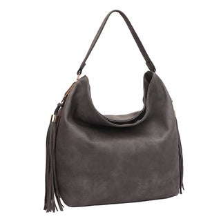 Dasein Fringe Studded Faux Leather Hobo Handbag