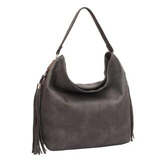 Dasein Fringe Studded Faux Leather Hobo Handbag (Option: Brown)