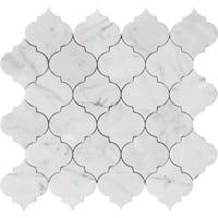 Italian Statuario Arabesque Waterjet Polished Mosaic Tile