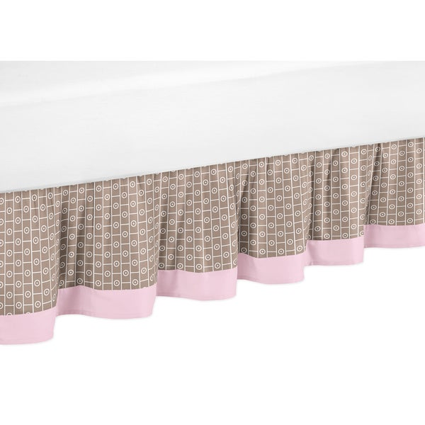 Sweet Jojo Designs Pink and Taupe Mod Elephant Toddler Bed Skirt