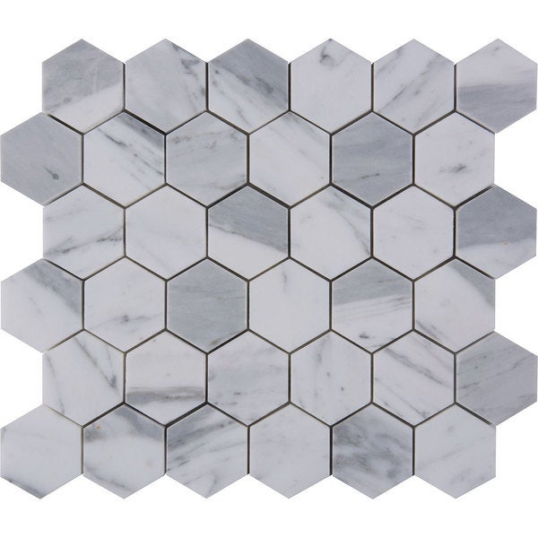 Italian Statuario Venato 2-inch Hexagon Polished Mosaic Tile