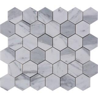 Italian Statuario Venato 2-inch Hexagon Polished Mosaic Tile