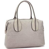 Dasein Faux Leather Rhinestone Studded Zip-Around Satchel Handbag