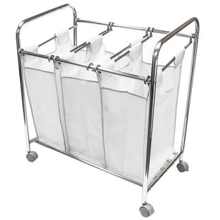 Sorbus White Polyester and Metal Laundry Sorter Cart Basket Hamper on Wheels With 3 Removable Bags