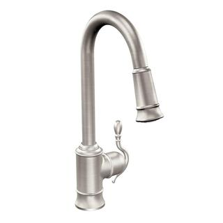 MOEN Woodmere Single-Handle Pull-Down Sprayer Kitchen Faucet Featuring Reflex in Spot Resist Stainless