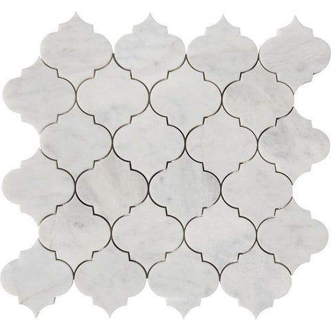 Italian Carrara Marble Arabesque Waterjet Polished Mosaic Tiles