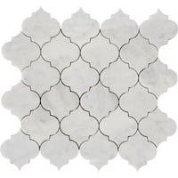 Italian Carrara Marble Arabesque Waterjet Polished Mosaic Tiles