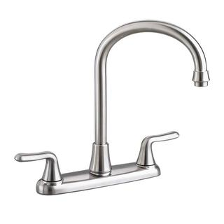 American Standard Colony Soft 2-Handle Standard Kitchen Faucet with Gooseneck Spout in Stainless Steel