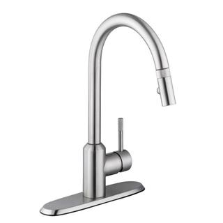 Schon Axel Single-Handle Pull-Down Sprayer Kitchen Faucet in Stainless Steel