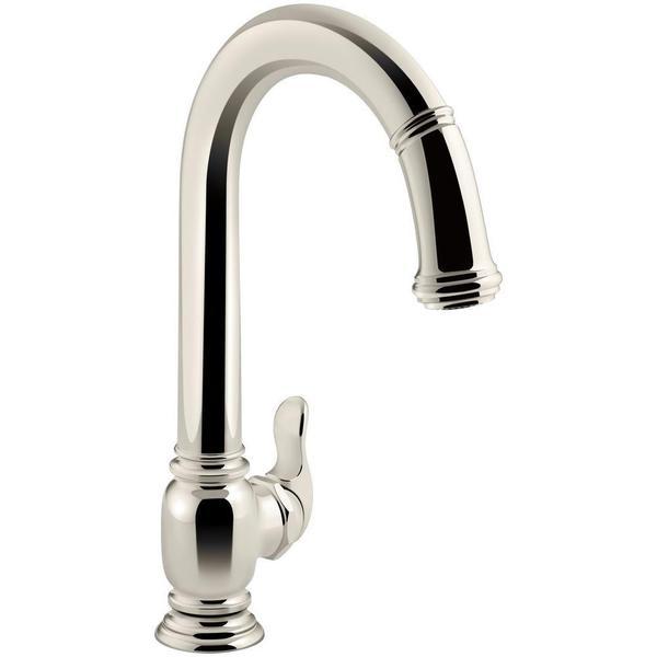 KOHLER Beckon Single-Handle Electronic Pull-Down Sprayer Kitchen Faucet in  Vibrant Polished Nickel