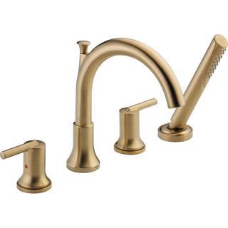 Delta Trinsic 2-Handle Deck-Mount Roman Tub Faucet Trim Kit with Hand Shower in Champagne Bronze (Va