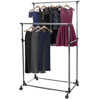 Sorbus Silvertone and Black Metal Adjustable Double-rail Rolling Garment Rack with Brake Wheels