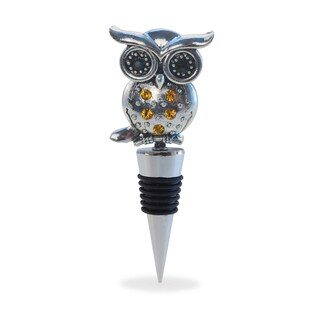 Puzzled Inc. Cheers Chrome Metal Owl Wine Stopper
