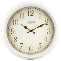 La Crosse 404-2641 16-inch Round Antique Off White Patina Analog Wall Clock
