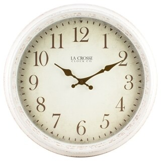 La Crosse 404-2641 16-inch Round Antique Off White Patina Analog Wall Clock