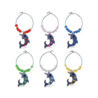 Puzzled 'Cheers' Multicolor Metal Dolphin Wine Charms (Pack of 2)