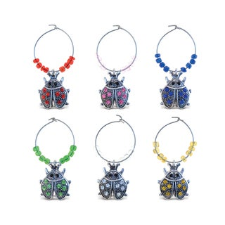 Puzzled Inc. Multicolore Metal Ladybug Wine Charms