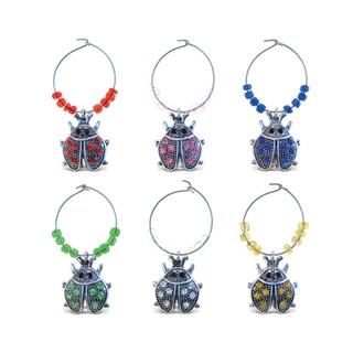 Puzzled Inc. Multicolore Metal Ladybug Wine Charms