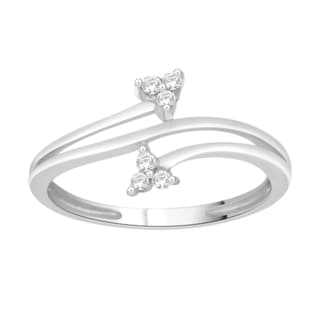 Trillion Designs Sterling Silver 1/10ct TDW Diamond Bypass Ring (H-I, I1-I2)