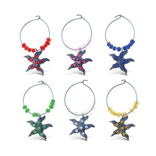 Puzzlec Cheers Metal Starfish Wine Charm