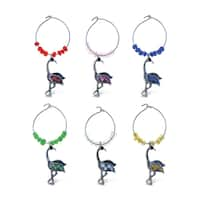 Puzzled Metal Flamingo Wine Charms (Pack of 6)