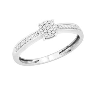 Sterling Silver 1/10ct TDW Natural Diamond Stylish Engagement Ring (H-I, I1-I2)