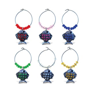 Cheers 2 Metal Fish Wine Charms