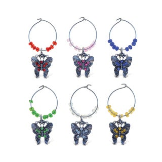 Puzzled Cheers Metal Butterfly Wine Charm