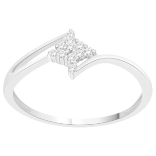 Trillion Designs Sterling Silver Diamond Accent Cluster Engagement Ring (H-I, I1-I2)