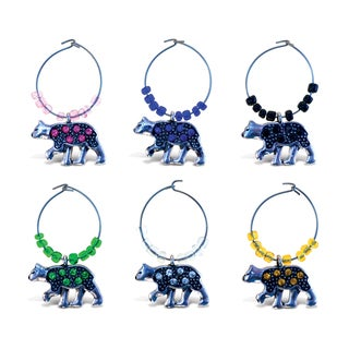 Puzzled Inc. Cheers Metal/Rhinestone Black Bear Wine Charms (Pack of 6)