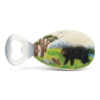 Puzzled Stone Magnet Black Bear Bottle Opener