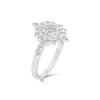 Trillion Designs Sterling Silver 1/10ct TDW Diamond Flower Cluster Engagement Ring