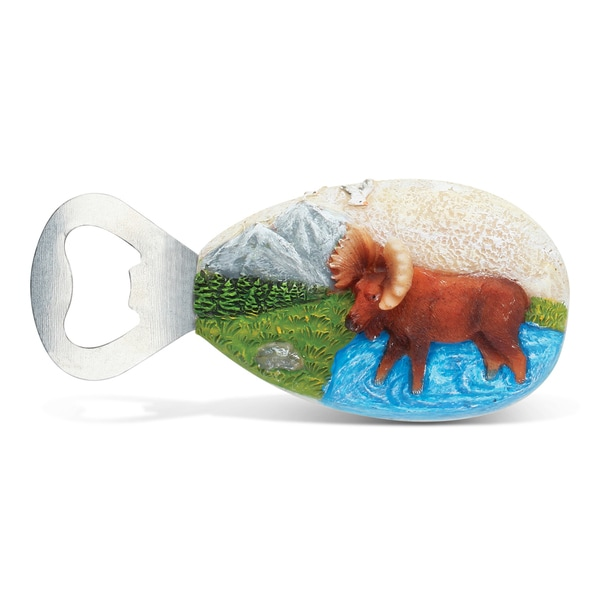 Puzzled Stone Moose Metal Magnet Bottle Opener