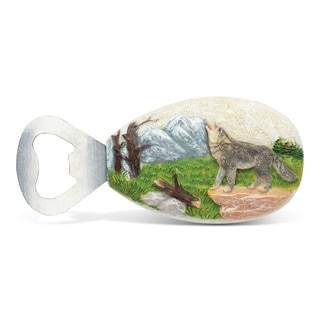 Puzzled Stone Magnet Wolf Bottle Opener