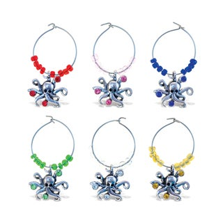 Puzzled Inc. Cheers Metal/Rhinestone Octopus Wine Charms (Pack of 6)
