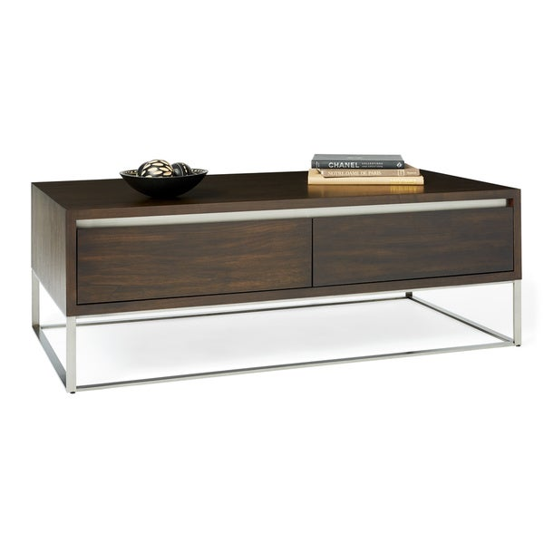 Shop Calvin Klein Remsen Stainless Walnut Coffee Table Free - Calvin coffee table
