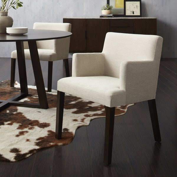Calvin Klein Stanton Walnut Finish Solid Wood And Fabric Dining Arm Chair