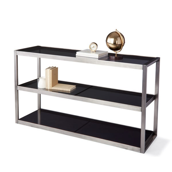 Calvin Klein Cove Stainless Steel/Glass Console Table   Free Shipping Today    Overstock.com   19656725