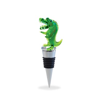 Puzzled Cheers Glass Alligator Wine Stopper