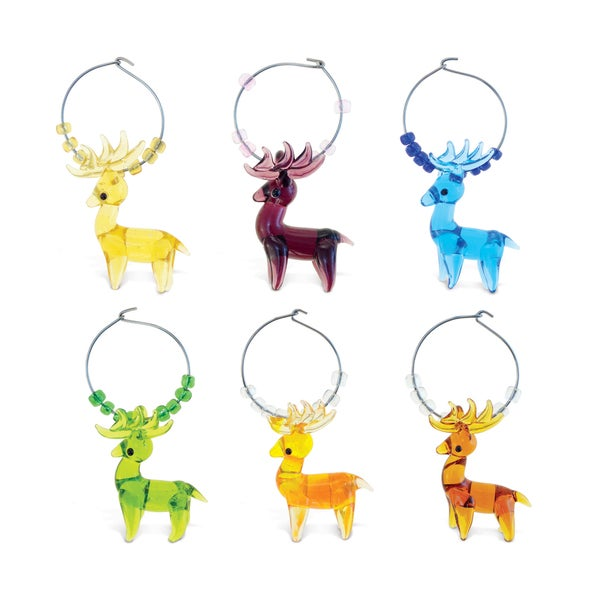 Puzzled Cheers Glass and Metal Moose Wine Charms. Opens flyout.