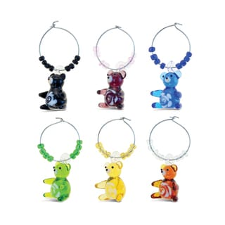 Link to Cheers 2 Glass Colorful Bear Wine Charms Similar Items in Glasses & Barware