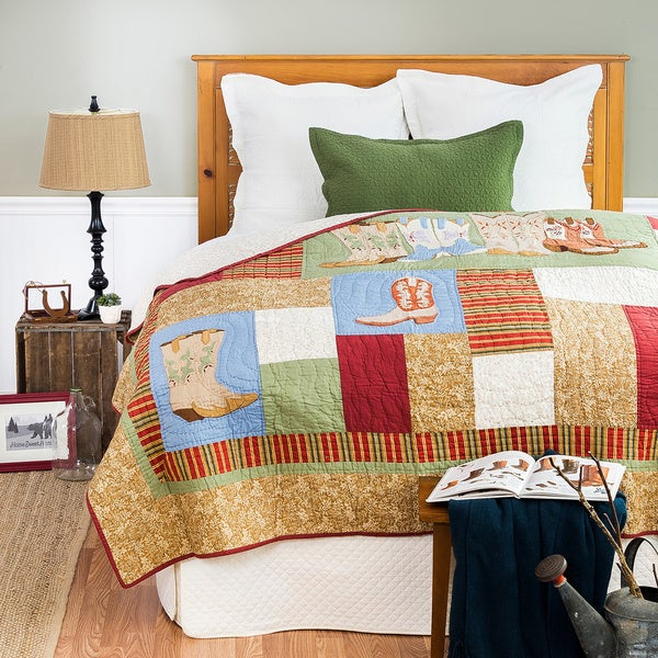 Vintage Boots Cotton Quilt (Shams Not Included)