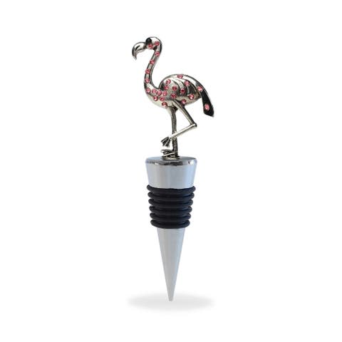 Puzzled Cheers Pink Rhinestone Metal Flamingo Wine Stopper