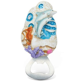 Puzzled Stone Dolphin Magnet Bottle Opener
